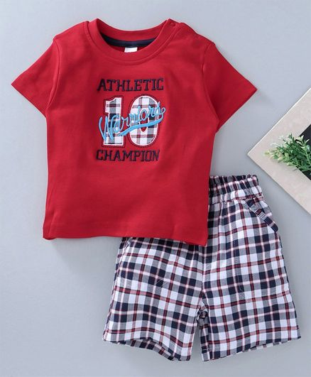 Olio Kids Athletic Embroidered Tee & Checks Shorts - Red