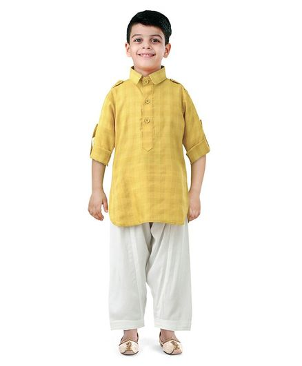 024570262 Ethnik s Neu Ron Full Sleeves Checked Kurta   Pyjama Set - Yellow