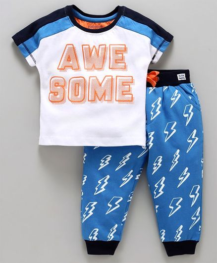 Babyoye Half Sleeves Tee And Lounge Pant Awesome Print - White Blue