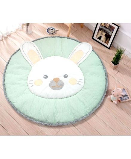 Abracadabra Plush Quilted Play Mat Bunny - Sea Green White
