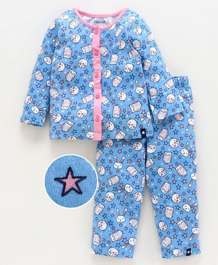 Babyoye Full Sleeves Cotton Night Suit Animal & Star Print - Blue