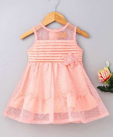 752c412c8 Yellow Duck Sleeveless Flower Decorated Sequin Embellished Embroidered  Dress - Light Peach
