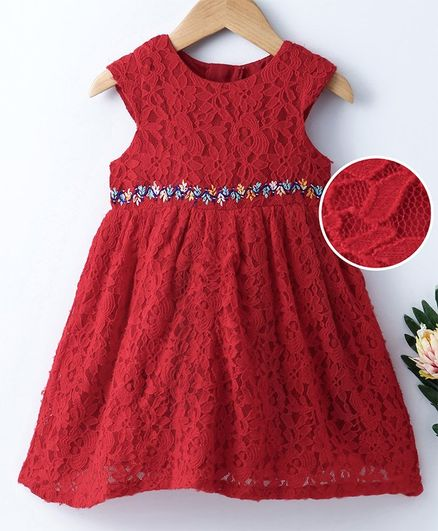Buy Yellow Duck Cap Sleeves Floral Lace Work Dress Red For Girls 9 12 Months Online In India Shop At Firstcry Com 2732177