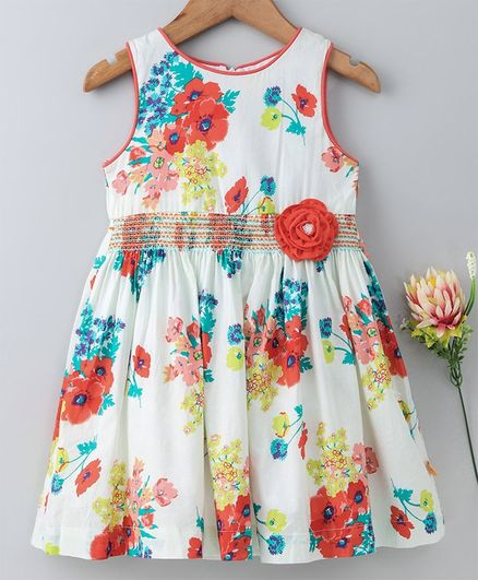 a1321f6ae23d1 Buy Yellow Duck Sleeveless Flower Print Dress Orange for Girls (18 ...