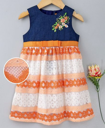 901c37cad750b Buy Yellow Duck Sleeveless Floral Lace Work Dress Orange for Girls ...