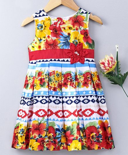 862d703fe5238 Buy Yellow Duck Sleeveless Floral Print Dress Red for Girls (2-3 Years)  Online in India, Shop at FirstCry.com - 2732301