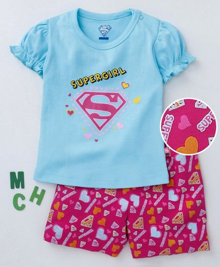 aecd9a69d Mom's Love Half Sleeves Tee & Shorts Set Supergirl Print - Blue Pink