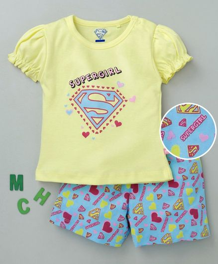36744ee07 Mom's Love Half Sleeves Tee & Shorts Set Supergirl Print - Blue Yellow