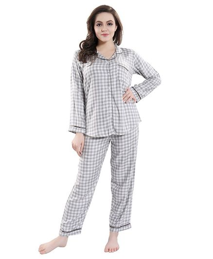 4c26441f45852 Piu Checked Full Sleeves Front Open Maternity Sleepwear Grey ...