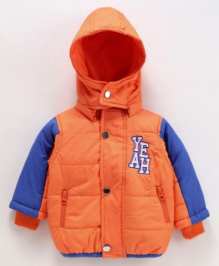 Babyoye Full Sleeves Hooded Jacket Text Print - Orange