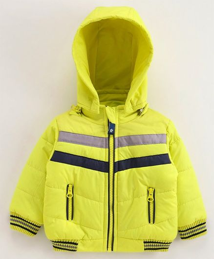 Babyoye Full Sleeves Hooded Jacket - Lime Green