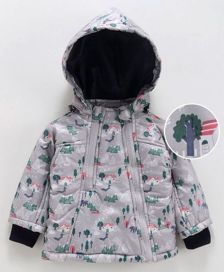 Babyoye Full Sleeves Hooded Jacket Scenery Print- Grey