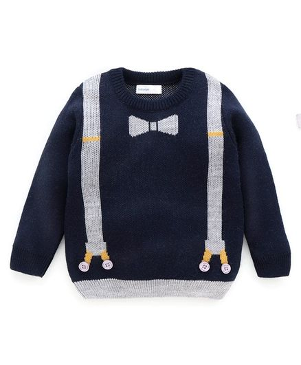 Babyoye Full Sleeves Acrylic Sweater With Mock Suspenders And Bow - Navy Blue
