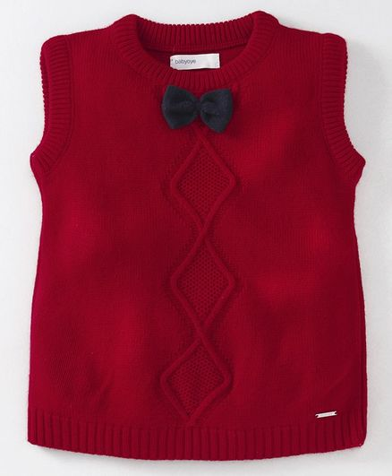 Babyoye Sleeveless Sweater Bow Applique - Red