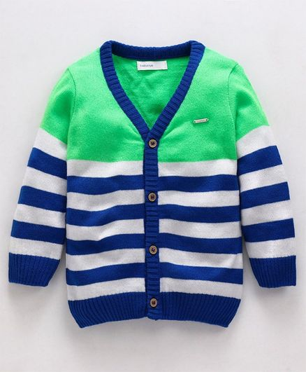 Babyoye Full Sleeves Sweater Striped Pattern - Blue Green