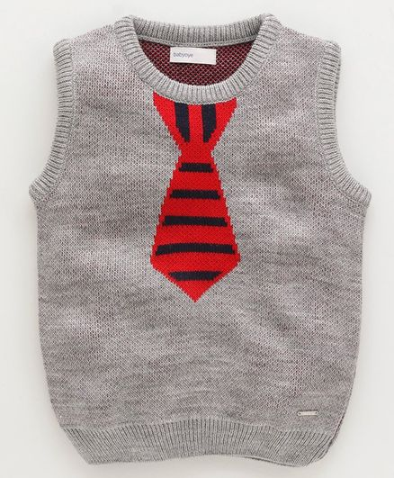 Babyoye Sleeveless Acrylic Sweater With Mock Tie - Grey