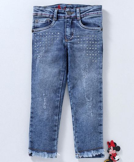 eb0b05fa5 Buy UFO Pearl & Beads Embellished Full Length Jeans Navy Blue for ...