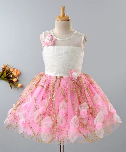 168816e0ac Buy Enfance Glitter Net Flower Adorned Sleeveless Dress Pink for Girls (2-3  Years) Online in India, Shop at FirstCry.com - 2737186