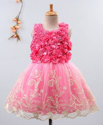 2bd5b98496184 Buy Enfance Flower Applique Sleeveless Dress Pink for Girls (3-4 Years)  Online in India, Shop at FirstCry.com - 2737475