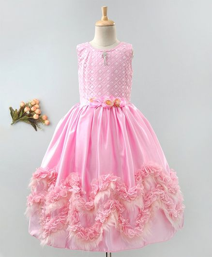 Enfance Sleeveless Flower Decorated Faux Fur Hemline Gown - Pink