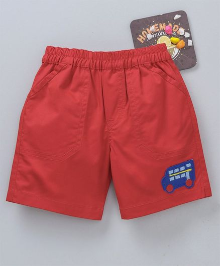Child World Elasticated Waist Shorts Bus Patch - Red