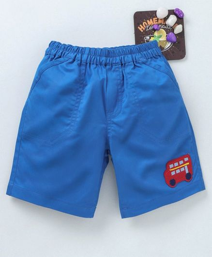 Child World Elasticated Waist Shorts Bus Patch - Blue