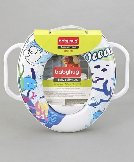Babyhug Baby Potty Seat With Handle Fish Print - Blue