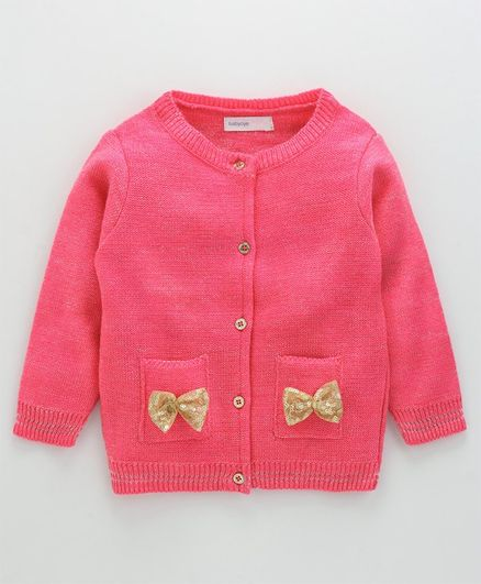 Babyoye Full Sleeves Cardigan Sequin Bow - Rouge