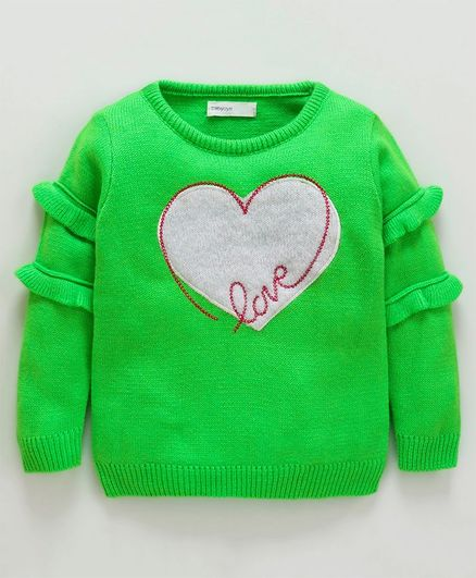 Babyoye Full Sleeves Sweater Heart Design - Lime Green