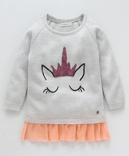 Babyoye Full Sleeves Sweater Sequin Unicorn Design - Silver Grey