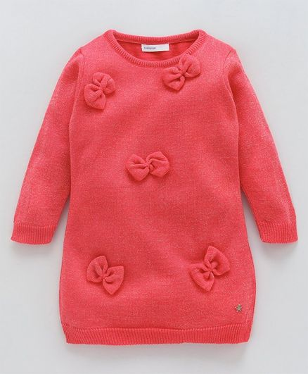 Babyoye Full Sleeves Sweater Bow Appliques Design - Coral