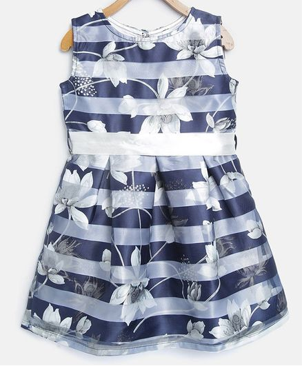 3868769f188d Buy Stylestone Flower Print & Striped Sleeveless Dress Navy Blue for ...