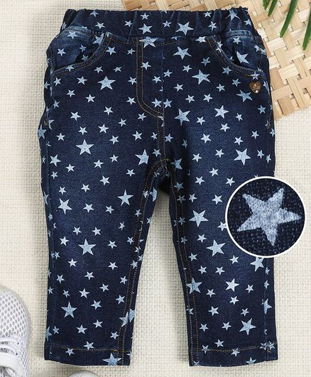 51f20625201f2 Buy Little Kangaroos Full Length Jeggings Allover Star Print Dark Blue ...
