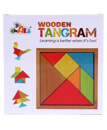 Awals Wooden Tangram Puzzle Multicolour - 18 Pieces