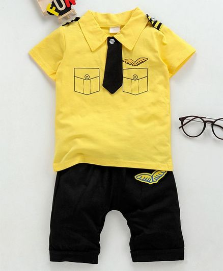 3421f57c3a05 Superfie Half Sleeves Tie Attached Printed Tee With Knee Length Shorts -  Yellow & Black