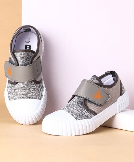 Cute Walk By Babyhug Casual Shoes With Velcro Closure - Grey
