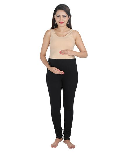 Lulamom Maternity Active Full Length Legging with Belly Band Support - Black Freeoffer