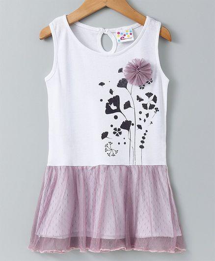 47a04865712 Buy Eimoie Flower Printed Sleeveless Dress White for Girls (3-4 Years ...