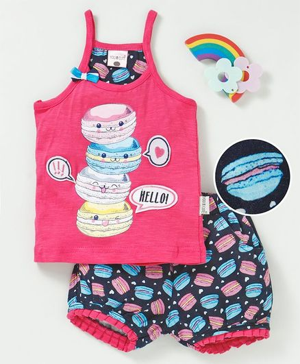 U R Cute Sleeveless Burger Print Tee With Shorts - Pink & Blue