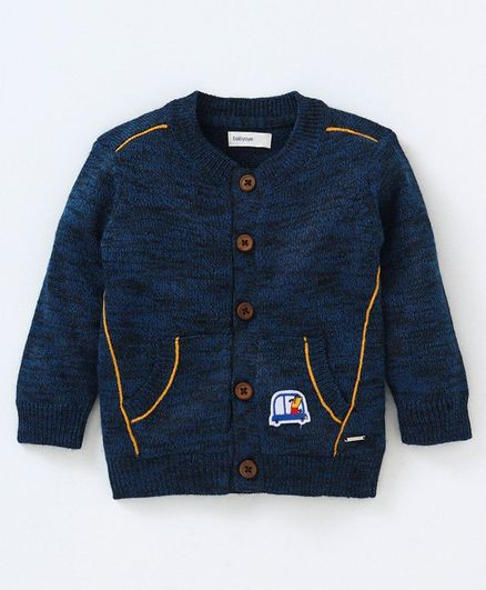 Babyoye Acrylic Vehicle Patch Cardigan - Blue