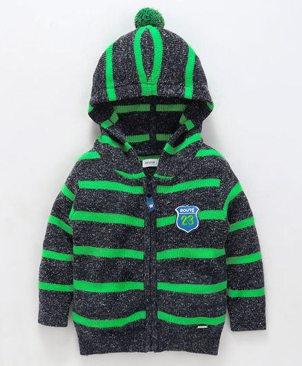 Babyoye Full Sleeves Striped Hooded Sweater - Grey Green