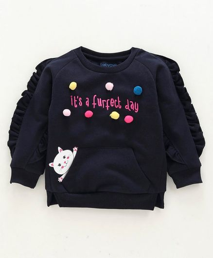 Babyoye Full Sleeves Sweatshirt Pom Pom Detailing - Navy Blue