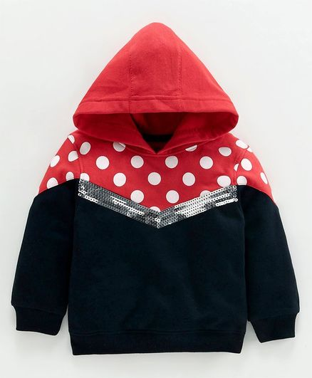 Babyoye Full Sleeves Hooded Sweatshirt Sequin Embellished - Red