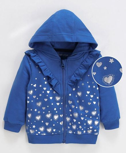 Babyoye Full Sleeves Hooded Jacket Heart Print - Blue