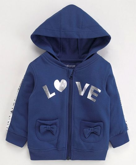 Babyoye Full Sleeves Hooded Cotton Poly Sweat Jacket Text Print & Bow Applique - Indigo Blue
