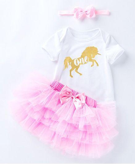 0e818da0badb Pre Order - Awabox Half Sleeves Unicorn Print Onesie With Tutu Skirt &  Headband - Pink. 0 to 3 Months ...