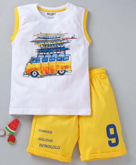 Cucumber Sleeveless Tee And Shorts Van Print - White Yellow