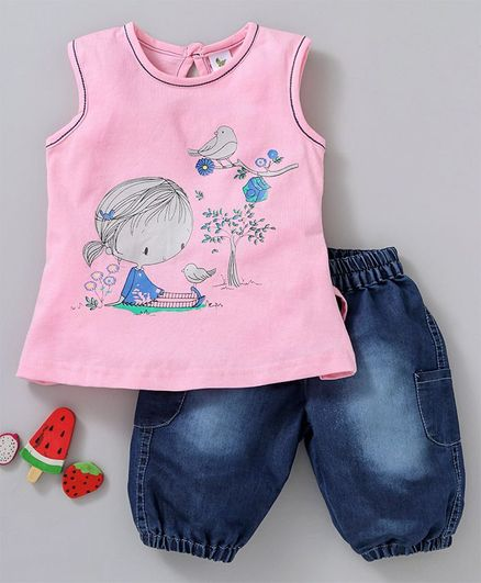 174838a52612 Buy Cucumber Sleeveless Tee And Denim Shorts Girl Print Pink Blue ...