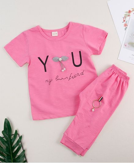 Awabox Letter Printed Half Sleeve Tee & Short Set - Rose