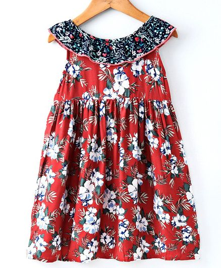 2054d3a366b81 Buy Pikaboo Hibiscus Flower Print Sleeveless Dress Orange for Girls ...
